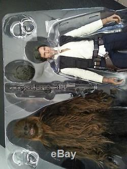 Hot Toys Han Solo & Chewbacca 1/6 Scale Figure Set 12 star wars