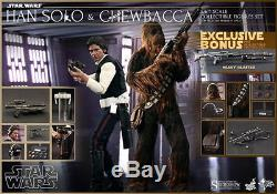 Hot Toys Star Wars Han Solo & Chewbacca 1/6 Scale Figure Set 12 New Episode IV