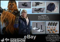 Hot Toys Star Wars Han Solo & Chewbacca 1/6 Scale Figure Set Force Awakens New