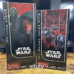 Sideshow Star Wars 12 LORD DARTH MAUL with SITH PROBE DROIDS 1/6 Scale Figure Lot
